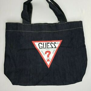 New-Guess-Jeans-Denim-Tote-Bag-Dark-Blue-Vintage-Style-Logo-Spell-Out-Cotton