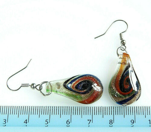 MULTICOLOUR~TEARDROP~LAMPWORK GLASS~PENDANT /& EARRINGS SET