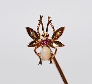 Besorgt Krawattennadel 585 Gold Schmetterling Opal Rubin Perle Um 1900 Handarbeit 6,5 Cm