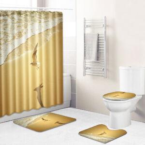 Bathroom Rug Set Shower Curtain Non Slip Toilet Lid Cover Bath Mat Pedestal Mat