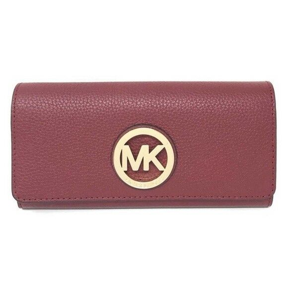 6a28e227a1cd Michael Kors 35F0GFTE1L Fulton Cherry Leather Flap CONTINENTAL Wallet for  sale online | eBay