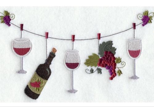 Vin Temps Corde à Linge Unique boire du vin de salle de bain serviettes brodé par Laura