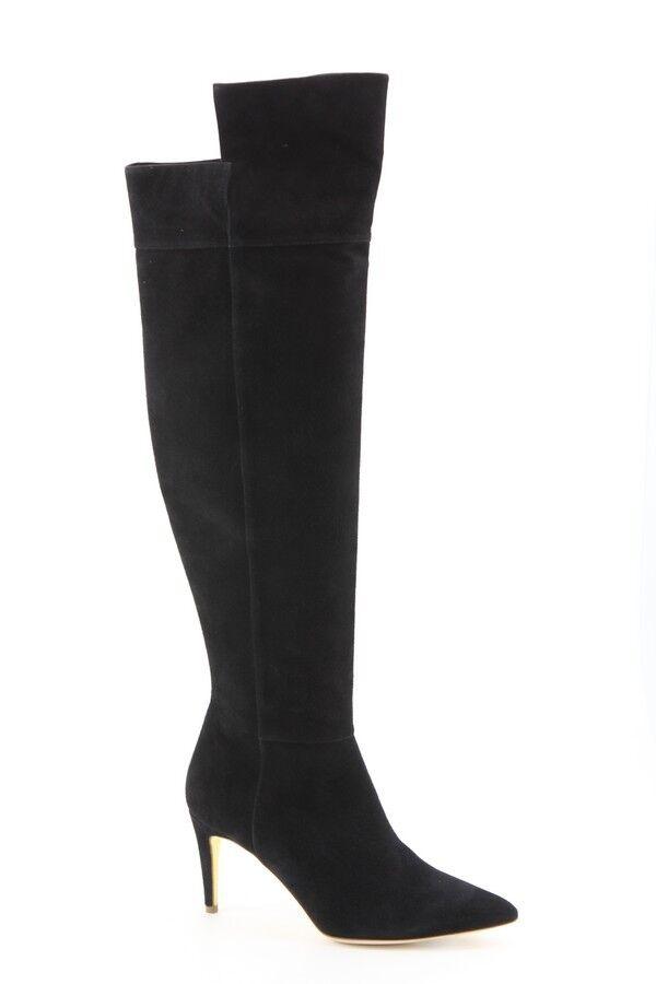 1,195 NEW Rupert Sanderson Black Black Black Suede Over-The-Knee Boots size 38 EU 7 US f3ad4e