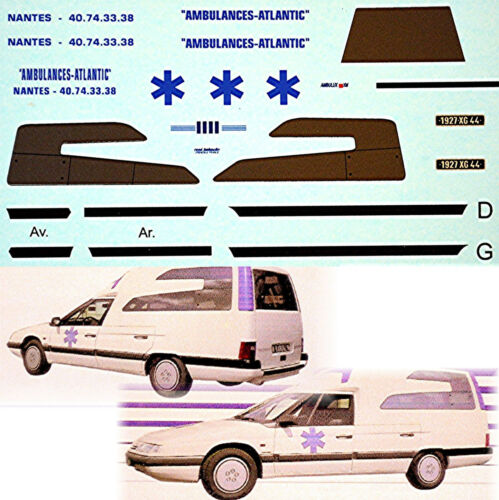 Citroen XM Break Baboulin XM Ambulux Krankenwagen 1:43 Decal Abziehbilder