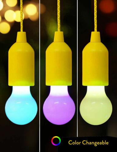 Colorful Hanging Pull Cord LED Light Bulb Chandelier Kids Room Decor Lamp RD768