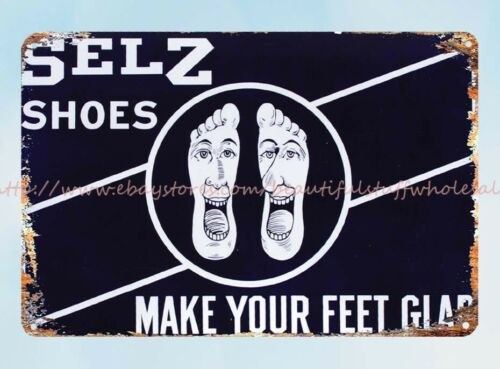 Details about  / lodge cafe wall art make your feet glad Selz Shoes metal tin sign