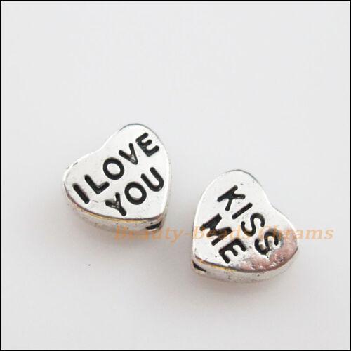 "25Pcs Tibetan Silver /""I LOVE YOU/""/""KISS ME/"" Heart Spacer Beads Charms 7x8mm"