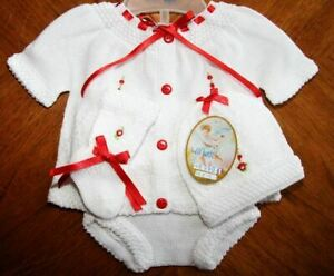 Will-039-beth-Newborn-Baby-Girl-White-Red-4-Piece-Knit-Set-Booties-Hat-NWT-Dolls