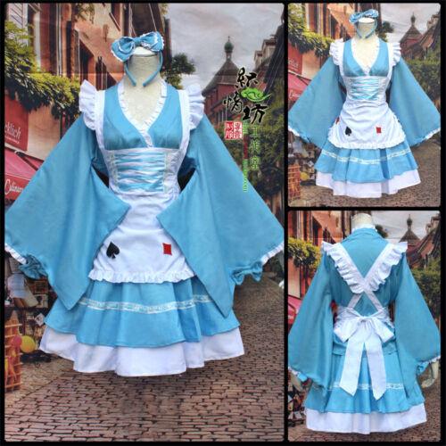 Alice In Wonderland Anime Lolita cute Kimono Blue Dress Apron Cosplay Costume