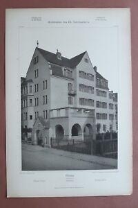 Jugendstil-Architektur-Anton-Wagner-1908-Muenchen-Amortstrasse-2-Wohnhaus-32x48cm