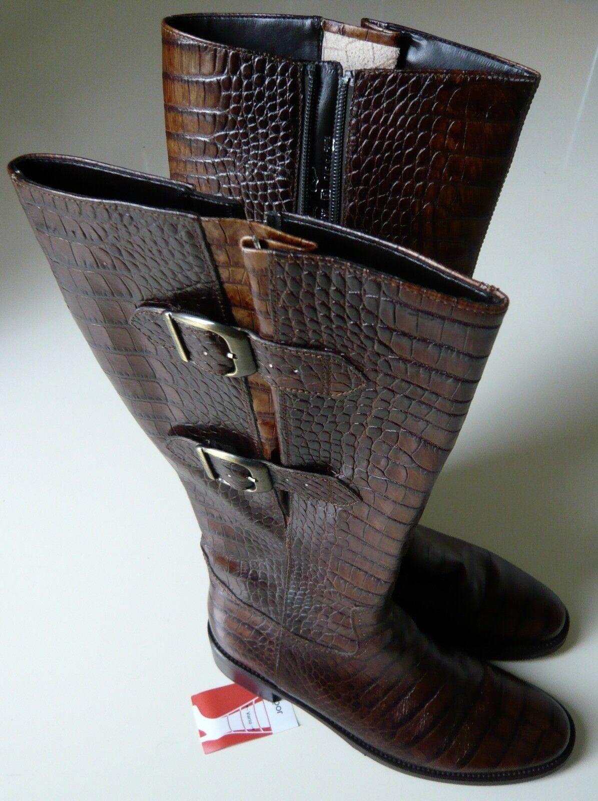 Gabor Stiefel Gr. Damen 38 Leder braun Krokoprägung Damen Gr. flexible Weite 929e29