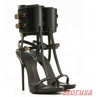 Gladiator Ladies Leather T-Strap Hollow Out Stiletto High Heel Sandal Roman Boot