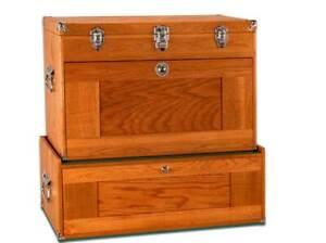 Gerstner-International-GI-T24-M24-Oak-Veneer-Tool-Hobby-Chest-amp-Base-Combo-Set