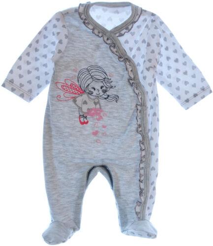 Strampler Overall Einteiler Anzug 56 62 68 74 Grau Herzchen Baby Schlafanzug