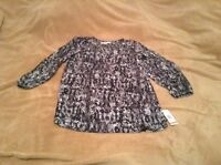 Kasper Xs Womens Ladies Blouse Top Shirt Multi Gray Msrp $69 027