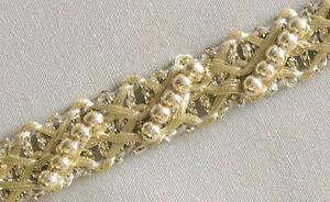 5-Yards-Metallic-Trim-with-Beads-Light-Gold-Braid-Lace-Ribbon