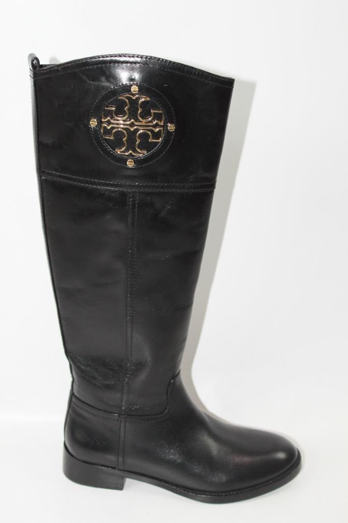 AUTH Tory Burch Women Black Leather Kiernan 35mm Boots 5.5