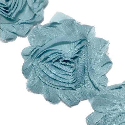 """1//2 yard baby blue 2.5/"""" shabby chiffon rose trim flowers DIY headband"""