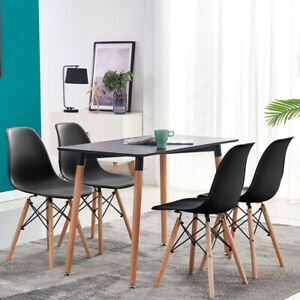 Retro Black Dining Table 4 Dining Chairs Set Dining Room Kitchen Office Wood Leg Ebay
