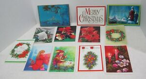 12-Vintage-Greeting-Card-Christmas-1950-80s-Wreath-Fruits-Candles-Religious-O18A