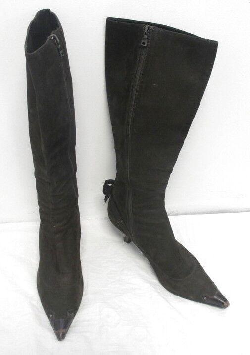PRADA Brown Tall Leather Heel Boots w Metallic Heel and Bow Detail 38.5 8.5 WOW