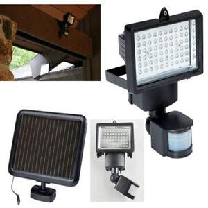 60 led solar pir bewegungsmelder solar leuchte solarlampe wandleuchte fluter neu ebay. Black Bedroom Furniture Sets. Home Design Ideas