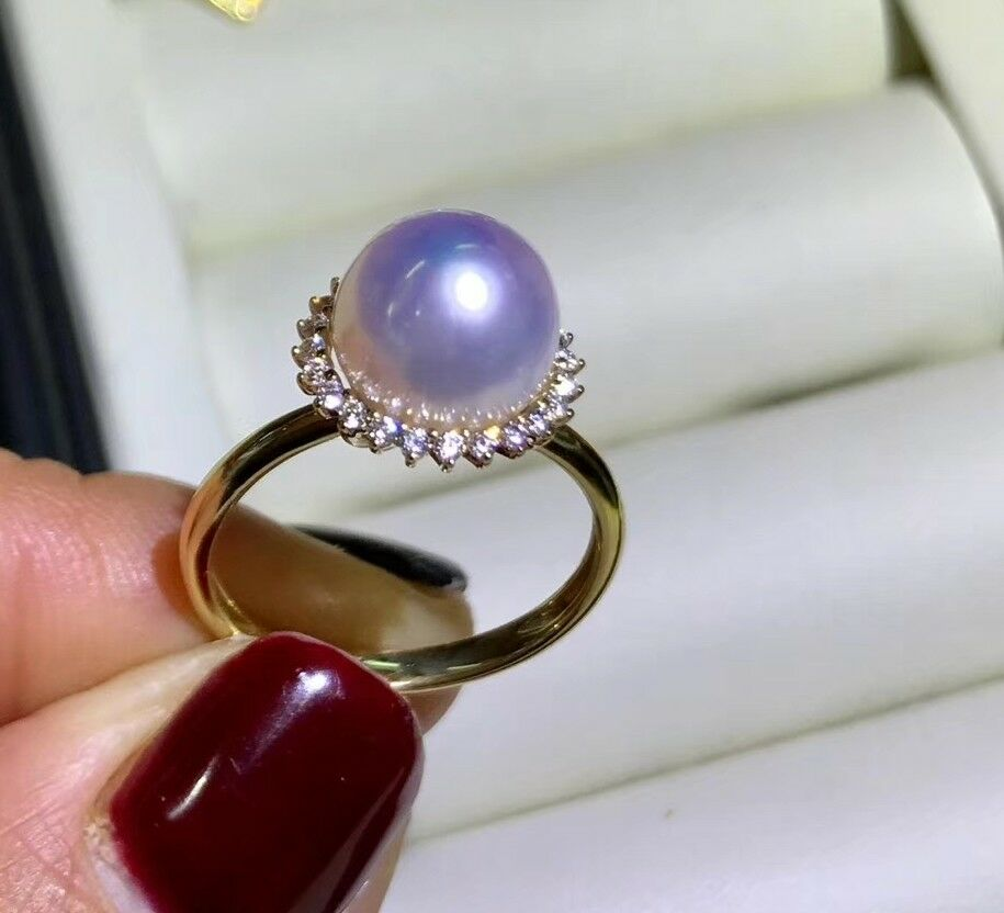 Biggest 9.5mm Japanese Tennyo akoya pearl ring  G 14K order only