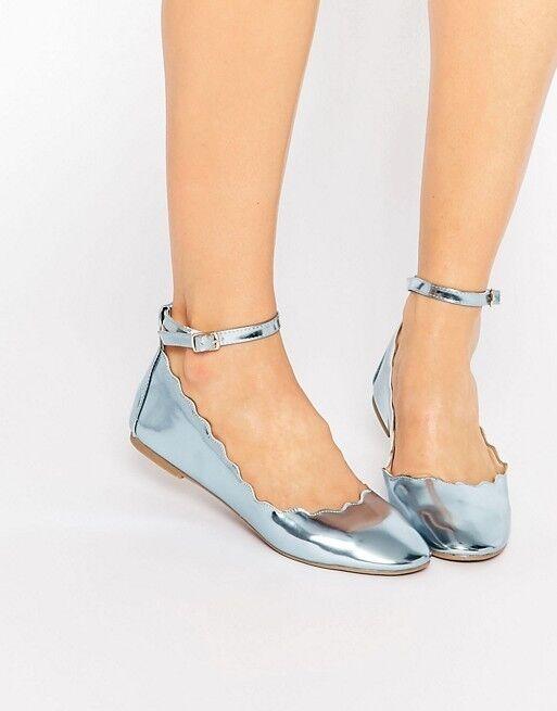 Daisy Street Metallic Blue Scalloped Edge Ballerina Shoes Pumps Size UK 6