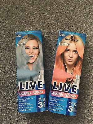 New In Box Schwarzkopf Live Pastel Spray Cotton Candy And Icy Blue Dye