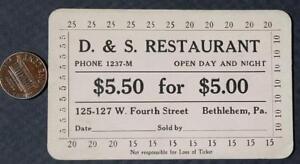 1910 20s Era Bethlehempennsylvania Ds Restaurant 500 Punchout
