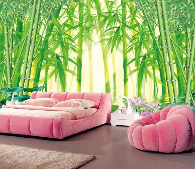 Lotus Lake Bamboo Forest Full Wall Mural Photo Wallpaper Print Home Kid 3D Decor