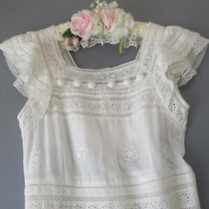 Vintage-Sheer-Lawn-Embroidered-LACE-Tea-Dress-Garden-Party-EYELETS-Ruffles