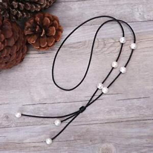 b12e0fc4ad435 Details about Cultured Freshwater Pearl on Genuine Black Leather Cord  Lariat Necklace