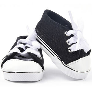 "Black Canvas Tennis Sneaker Shoes made for 18"" American Kids Doll Clothes"