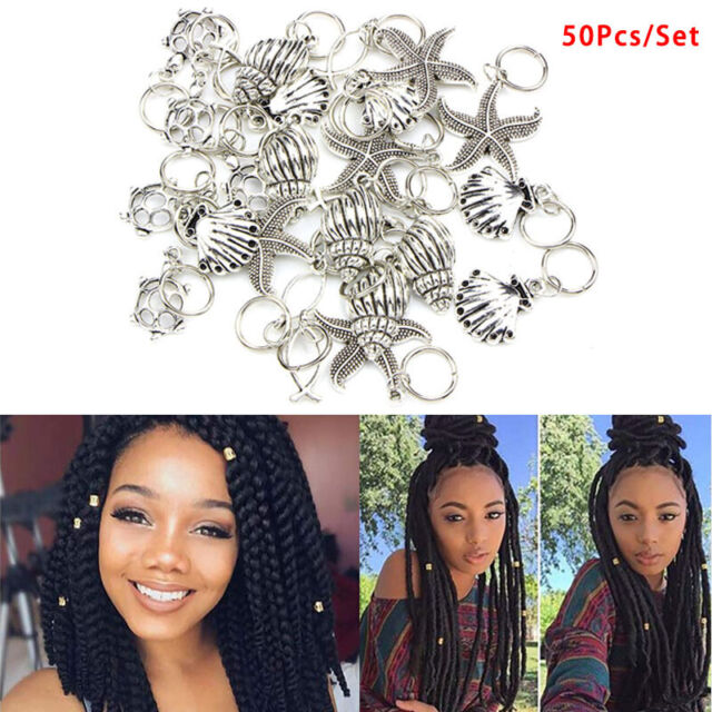 50x/Set Starfish Pendant Dreadlock Hair Braid Pins Rings Clip DIY Cuff Jewelr J0