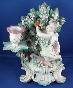 18thC-Derby-Porcelain-Pair-Figural-Candlesticks-Candle-Holders-English-England