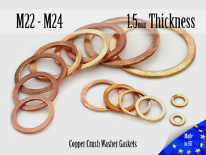 M22-M24-Thick-1-5mm-Metric-Copper-Flat-Ring-Oil-Drain-Plug-Crush-Washer-Gaskets
