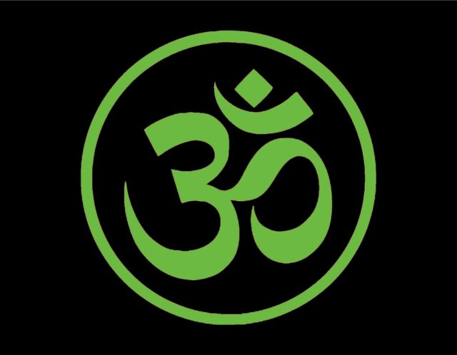 Om Symbol Hindu Vinyl Window Decal Green 5 Round Aum God Jdm