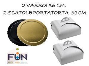 Kitchen, Dining & Bar Online Shop Industrious Vassoio Ala Tondo Oro In Cartone 2 Da 36cm Piu' 2 Scatola Portatorta 38 Cm