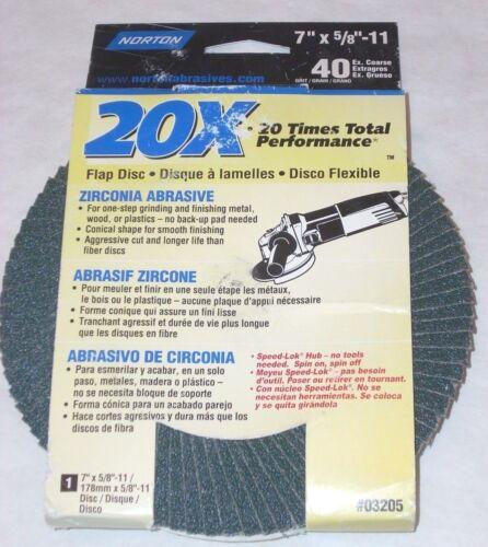 10 Norton 03205 7 x 5//8-11 40g Zirconia Flap Discs Type 29 Grind /& Polish Metal