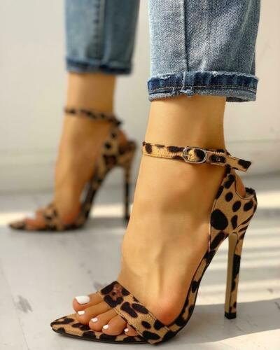 Sandals Stiletto Animal Beige Ankle Boot 12 cm Leather Synthetic Elegant 1447
