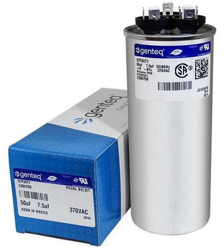 GENTEQ Dual Run Capacitor # 97F9971 2-Pack 7.5 uf MFD x 370 VAC /> 50 GE