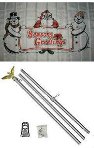 SEASONS GREETINGS 3X5/' FLAG MERRY CHRISTMAS SNOWMEN /& SANTA NEW