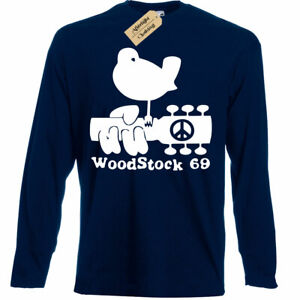 Woodstock-T-Shirt-Mens-gift-Present-peace-and-music-festival-long-sleeve
