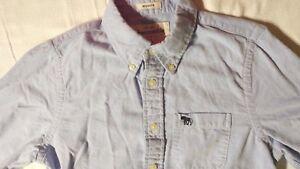 Abercrombie-Boys-Long-Sleeve-Button-Down-Blue-Muscle-Shirt-Size-XL