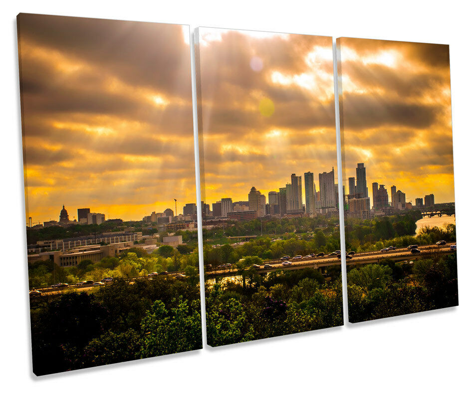 Austin Stadt Sunset Texas Skyline TREBLE CANVAS Wand Kunst Box Framed Bild