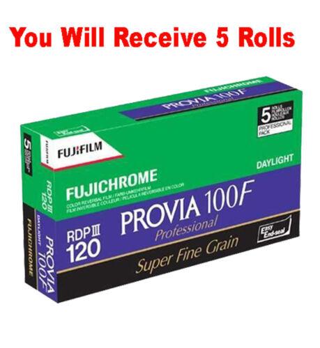 5 Rolls Fuji Fujichrome RDP-III Provia 100F 120 Color Reversal Slide Film