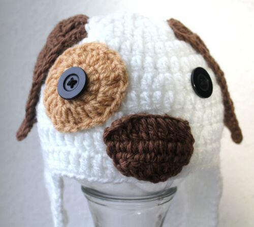 Mütze Häkelmütze Babymütze  Hund Fotoshooting NEU Kopfum.38-42 cm