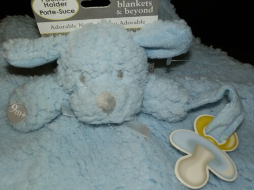 SECURITY BLANKET BEYOND PUPPY DOG BLUE SHERPA LT GRAY NOSE PACI HOLDER SQUARE