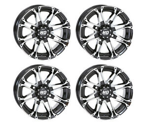 4 ATV/UTV Wheels Set 12in STI HD3 Machined 4/110 5+2 IRS